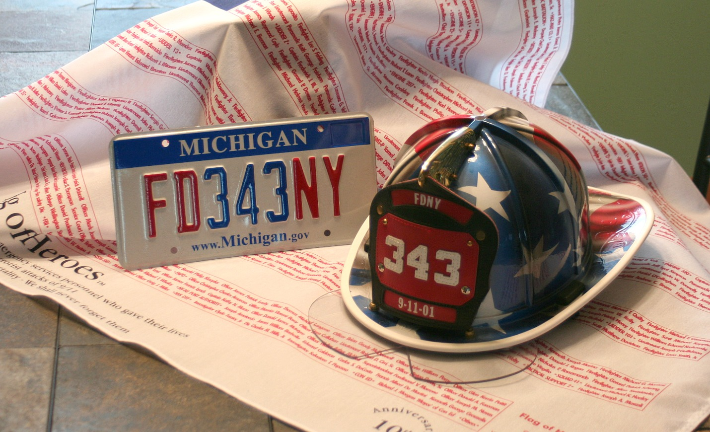 License plate with helmet
